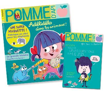 Couverture du magazine Pomme d'Api n°637, mars 2019, et son supplément pour les parents.