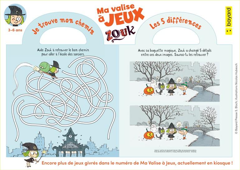 """Téléchargez les petits jeux extraits du magazine """"Ma valise à jeux Zouk"""", janvier-mars 2019. © Bayard Presse S. Bloch; illustrations Nicolas Hubesch"""
