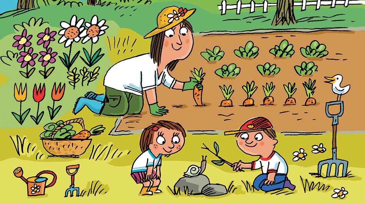 """""""La nature, une belle école de vie"""", Popi n°392, avril 2019. Texte : Joséphine Lebard. Illustrations : Peter Elliott."""