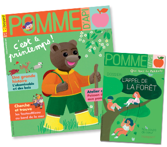 Couverture du magazine Pomme d'Api n°638, avril 2019, et son supplément pour les parents.
