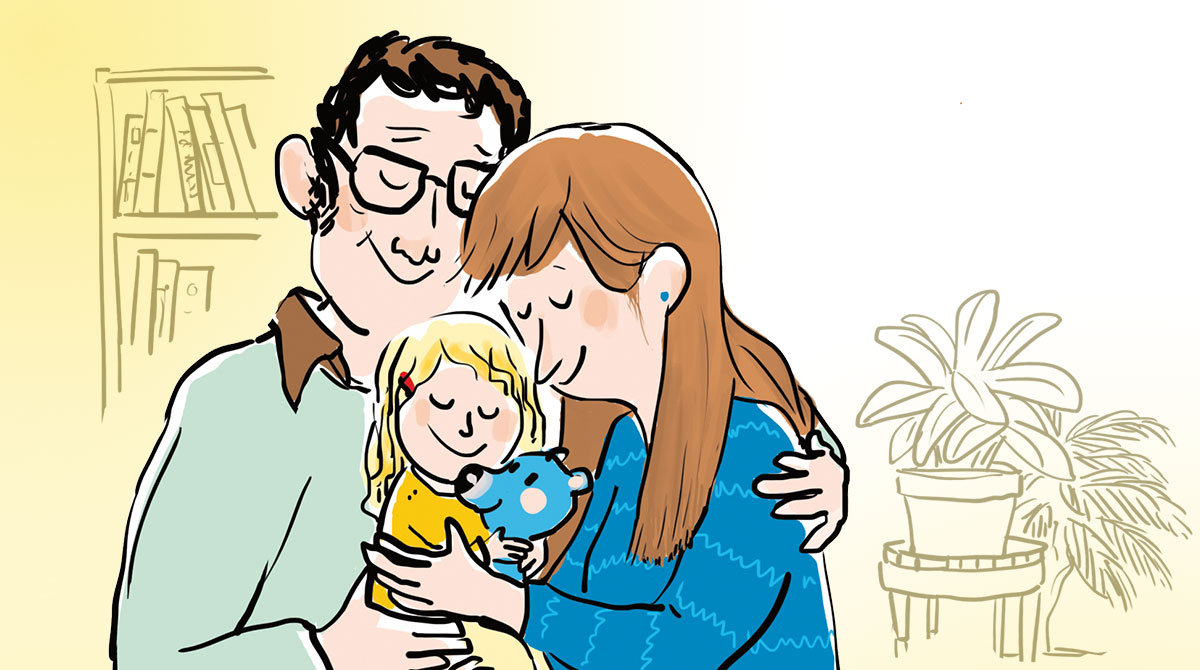 """""""Tu veux un câlin ?"""", supplément pour les parents du magazine Popi n°394, juin 2019. Texte : Anne Bideault. Illustrations : Zelda Zonk."""