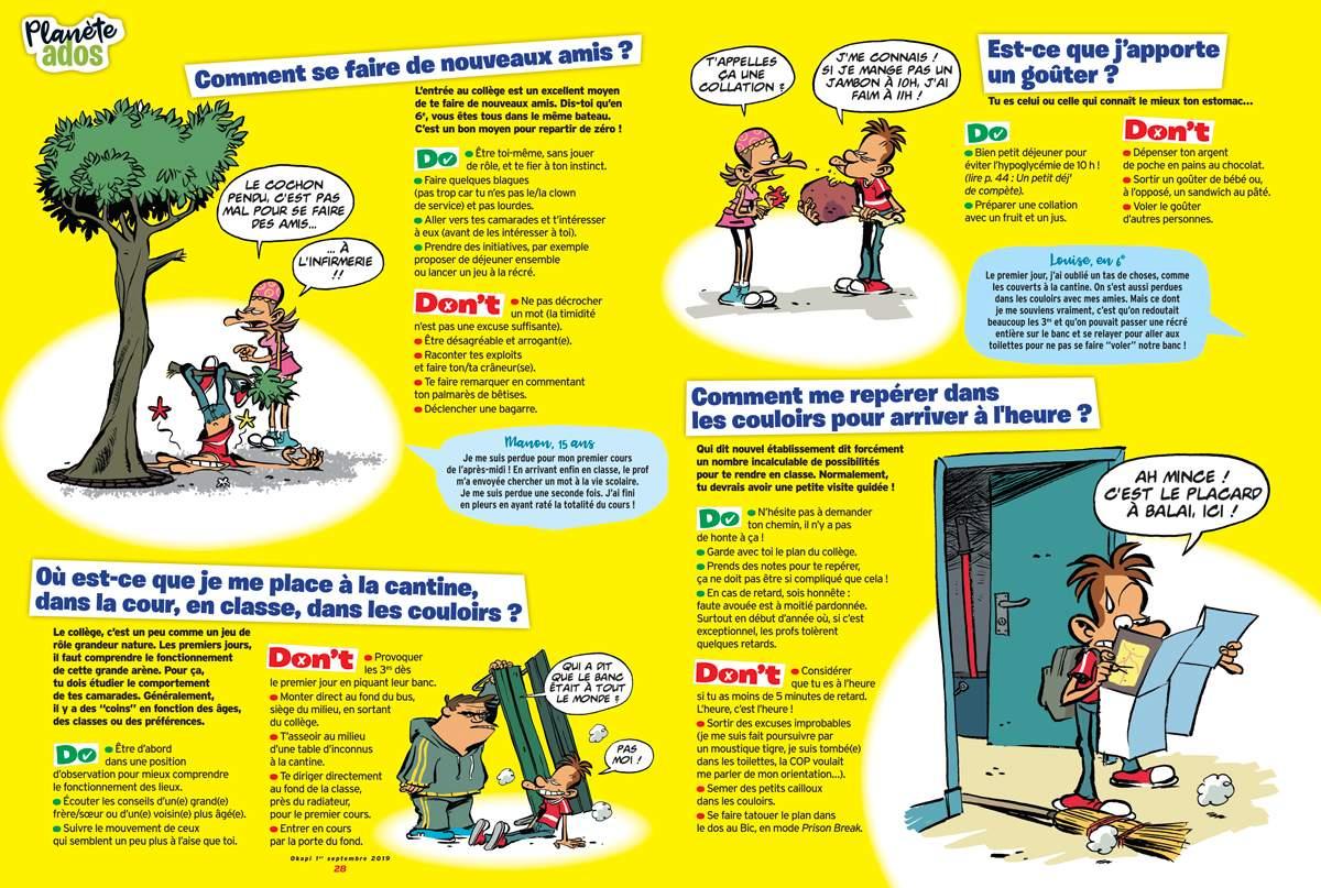 """""""Les Do & Don't de la rentrée"""", Okapi n°1095, du 1er septembre 2019. Texte : Lola Blassieaux. Illustrations : Dab's."""