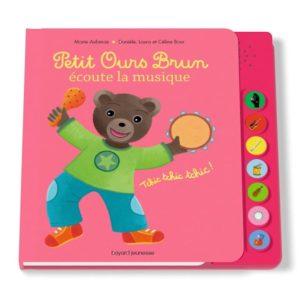 couverture du livre sonore 'Petit Ours Brun écoute la musique'