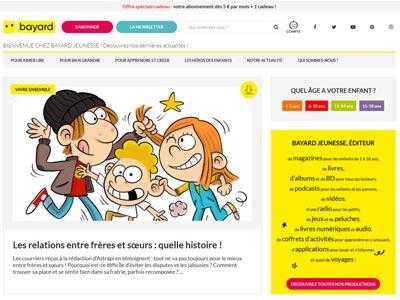 écran du site bayard-jeunesse.com/infos