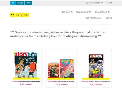 un écran du site bayard-magazines.co.uk