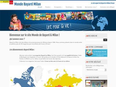 un écran du site monde Bayard et Milan Export