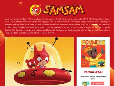 écran du site samsam.fr