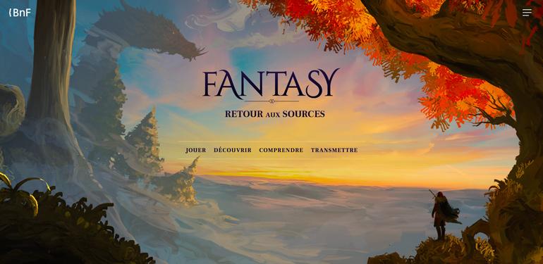 Écrire, apprendre et rêver. Capture du site fantasy, proposé par la Bibliothèque Nationale de France.
