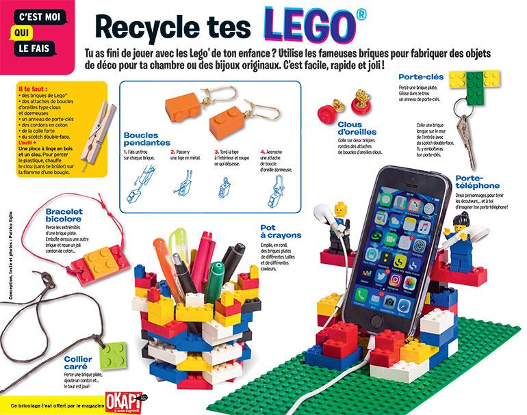 "Bricolage ""Recycle tes Lego"", extrait du magazine Okapi n°1054."