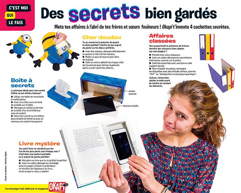 """Bricolage """"Des secrets bien gardés"""", extrait du magazine Okapi n°1059."""