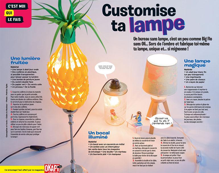 "Bricolage ""Customise ta lampe"", extrait du magazine Okapi n°1073."