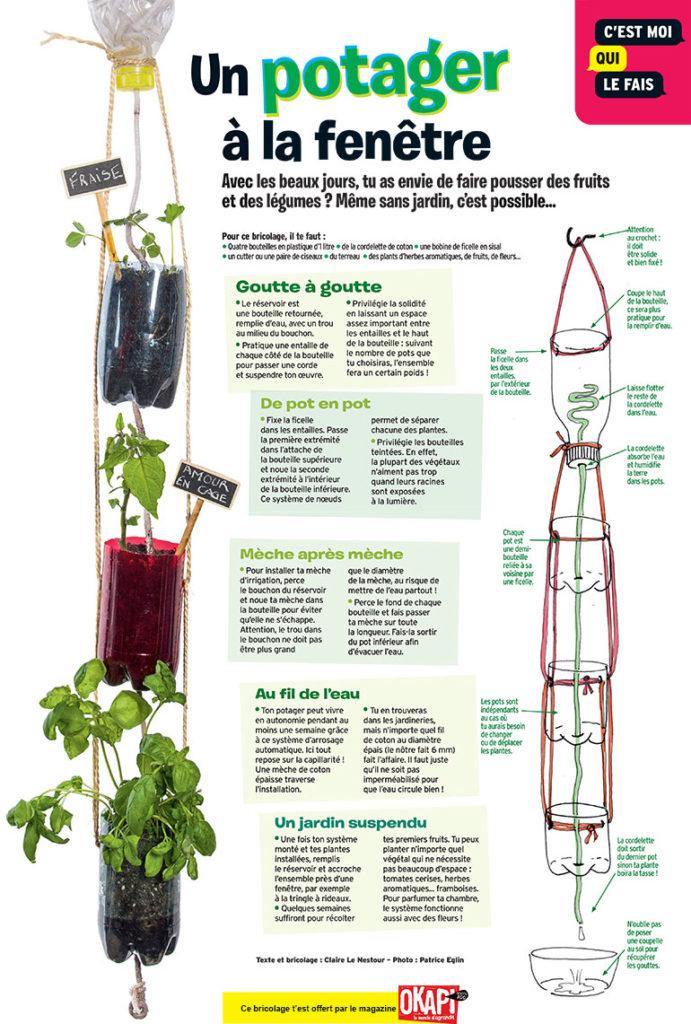 """Bricolage """"Un potager à la fenêtre"""", extrait du magazine Okapi n°1109."""