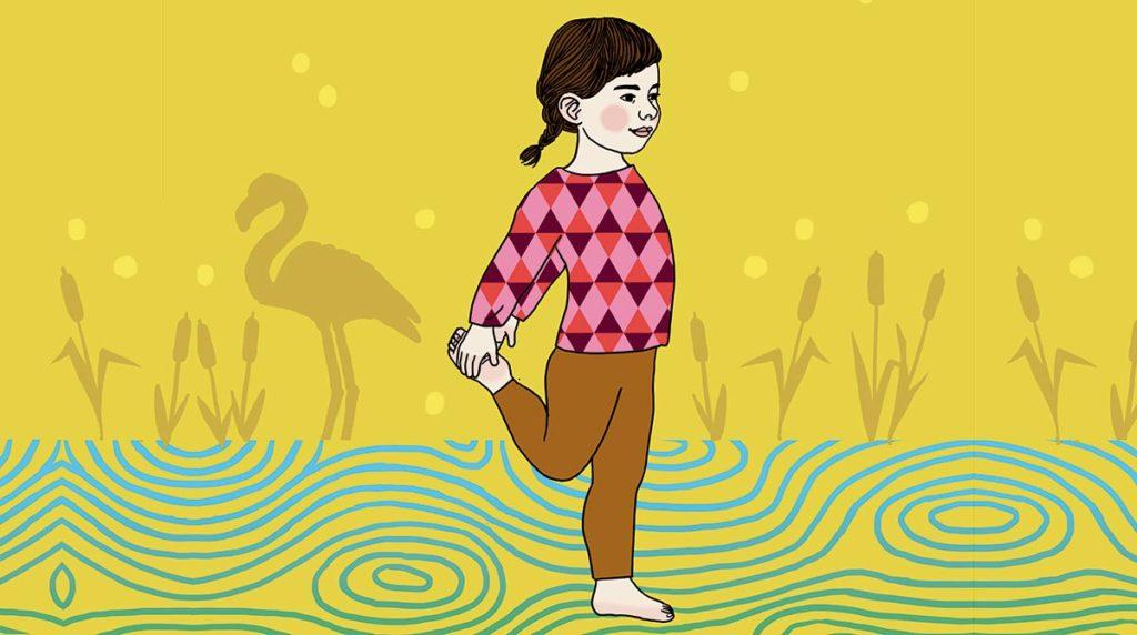 "Yoga : la posture du ""Flamand rose""."