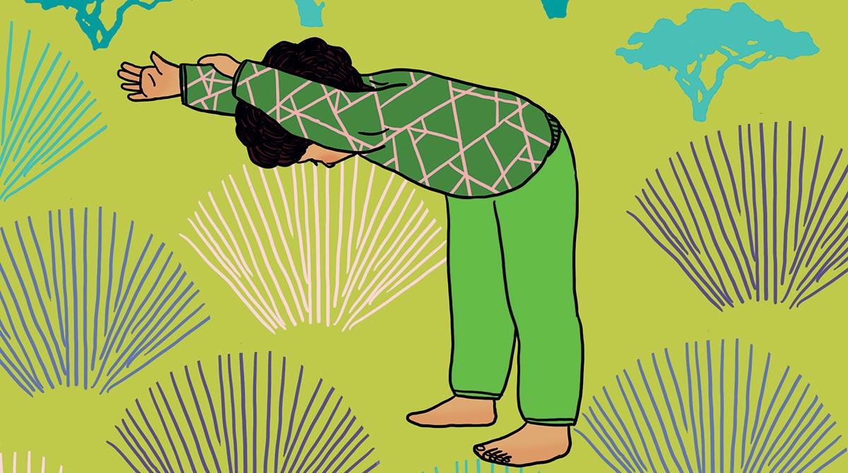 """Yoga : la posture """"Bonjour petit éléphant""""."""