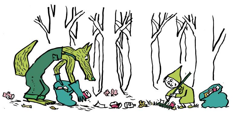 """""""10 idées pour un quotidien plus écolo"""", supplément pour les parents du magazine Pomme d'Api n°651, mai 2020. Texte : Joséphine Lebard. Illustrations : Pascal Lemaître."""
