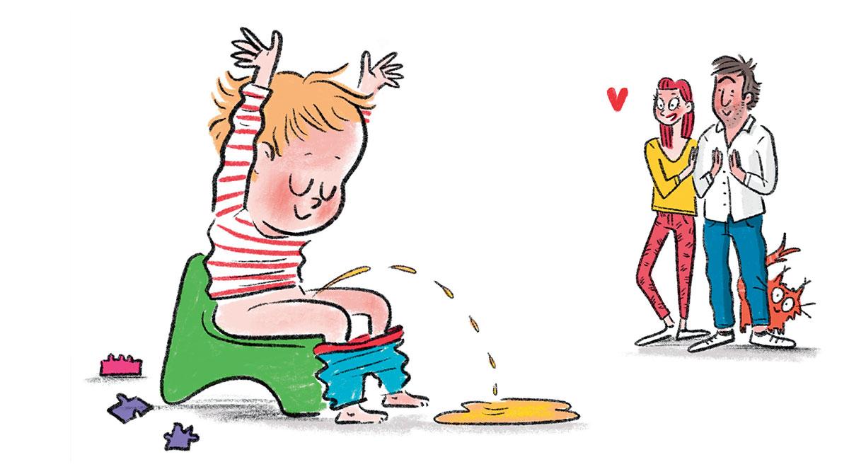 """""""Le pot sans stress"""", supplément pour les parents du magazine Popi n°406, juin 2020. Illustration : Isacile."""