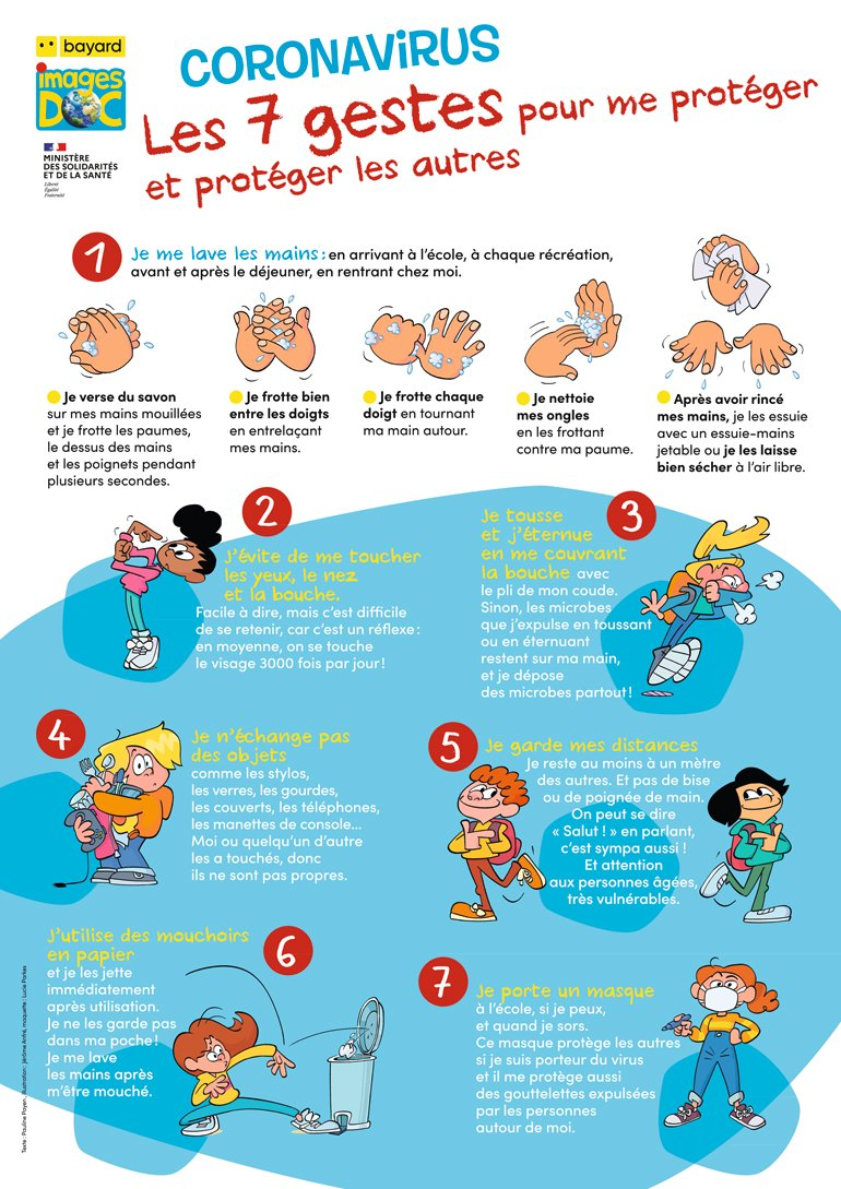 Coronavirus, les 7 gestes pour me protéger et protéger les autres. Texte : Pauline Payen, illustration : Jérôme Anfré, maquette : Lucie Parkes