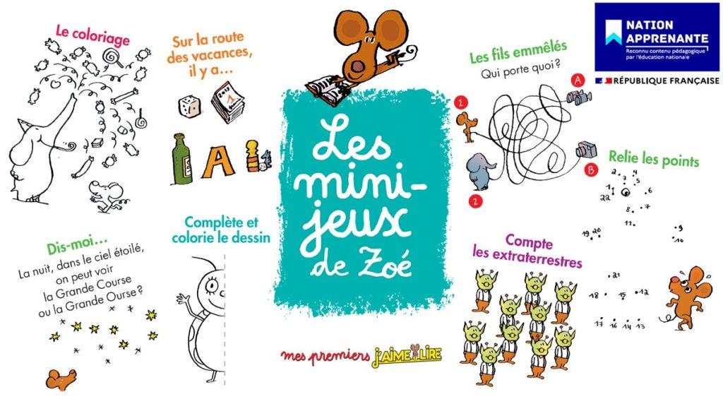"""Des jeux pour les lecteurs débutants : """"Mini-jeux de Zoé"""" sur le site du magazine J'aime lire."""
