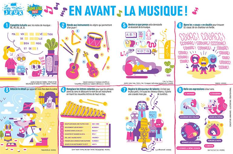 """Des jeux de lettres pour les bons lecteurs : jeux """"En avant la musique !"""" sur le site du magazine J'aime lire."""