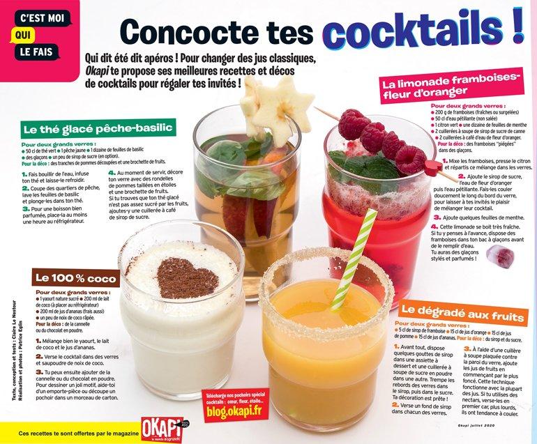 """""""Concocte tes cocktails"""", Okapi n°1115, 1er juillet 2020. Texte : Claire Le Nestour. Réalisation et photos : Patrice Eglin"""