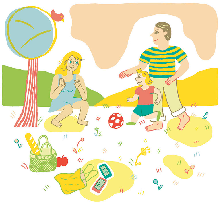 Côté parents, quelques devoirs de vacances… Illustration : Charline Giquel.