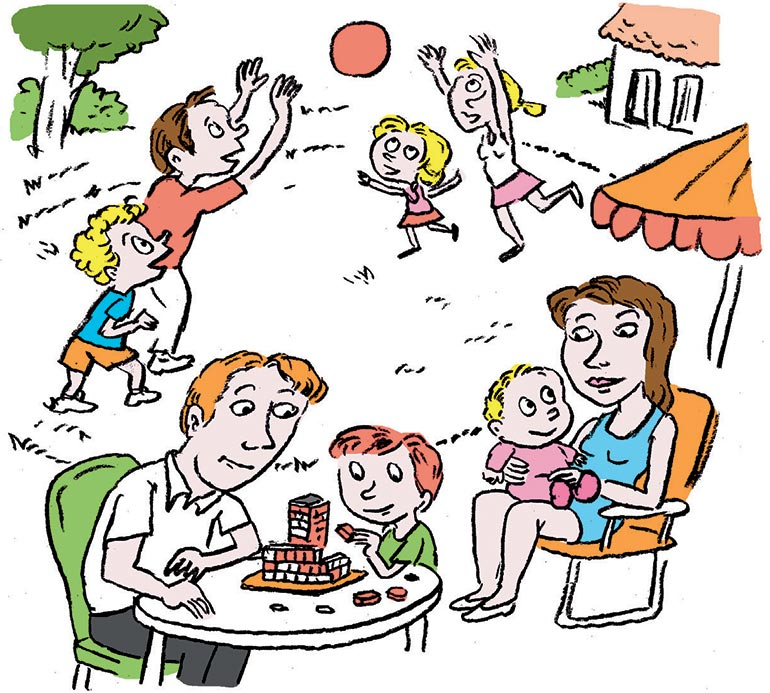 """""""Vacances en tribu : les sujets qui fâchent !"""", supplément pour les parents du magazine Pomme d'Api n°654, août 2020. Illustrations : Muzo."""