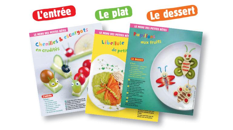 """""""Le menu des petites bêtes"""", supplément pour les parents du magazine Popi de juillet 2017 – Conception, réalisation et photos : Raphaële Vidaling."""