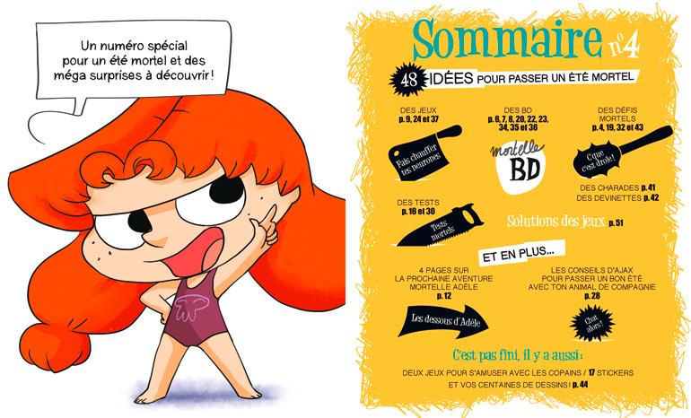 Sommaire du magazine Mortelle Adèle n°4, en vente en kiosque le 24 juin