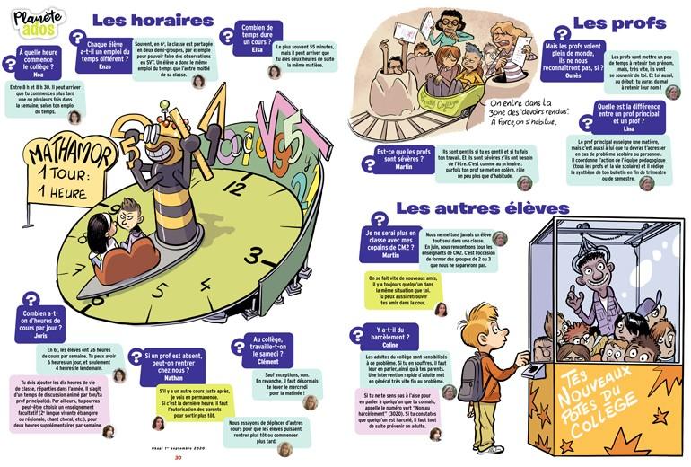 """""""Toutes les questions que tu te poses sur le collège"""", Okapi n°1117, 1er septembre 2020. Texte: Sandrine Pouverreau - Illustrations: Tehem."""