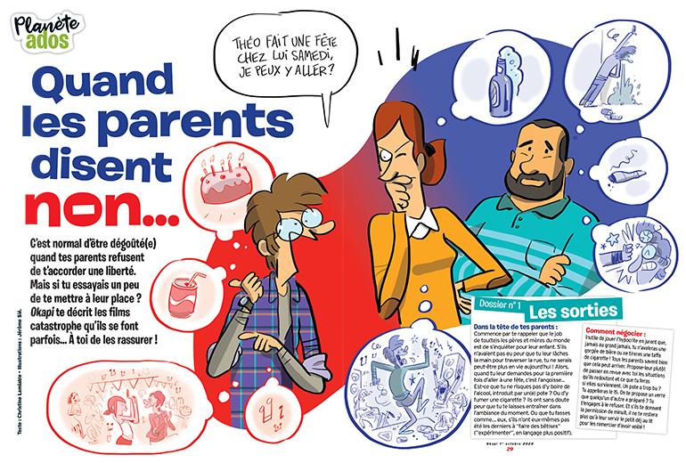 """""""Quand les parents disent non"""", Okapi n°1119, 1er octobre 2020. Texte: Christine Lamiable - Illustrations : Jérôme Sié."""