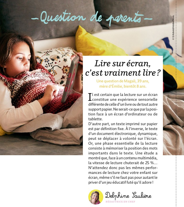 """""""Question de parents : Lire sur écran, c'est vraiment lire ?"""", Mes premiers J'aime lire, n°219, novembre 2020 © S.Kobold/AdobeStock."""