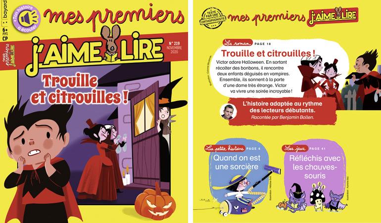 """Au sommaire du magazine """"Mes premiers J'aime lire"""", n°219, novembre 2020"""