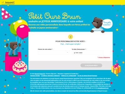 un écran du site anniversaire.petitoursbrun.com 2020