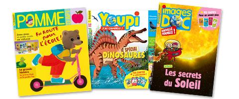 Magazines Bayard Jeunesse : Pomme d'Api - Youpi - Images Doc