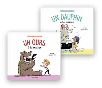 """""""Un ours à la maison"""" et """"Un dauphin à la maison"""" de Mr Tan. Illustration : Caroline Hüe."""