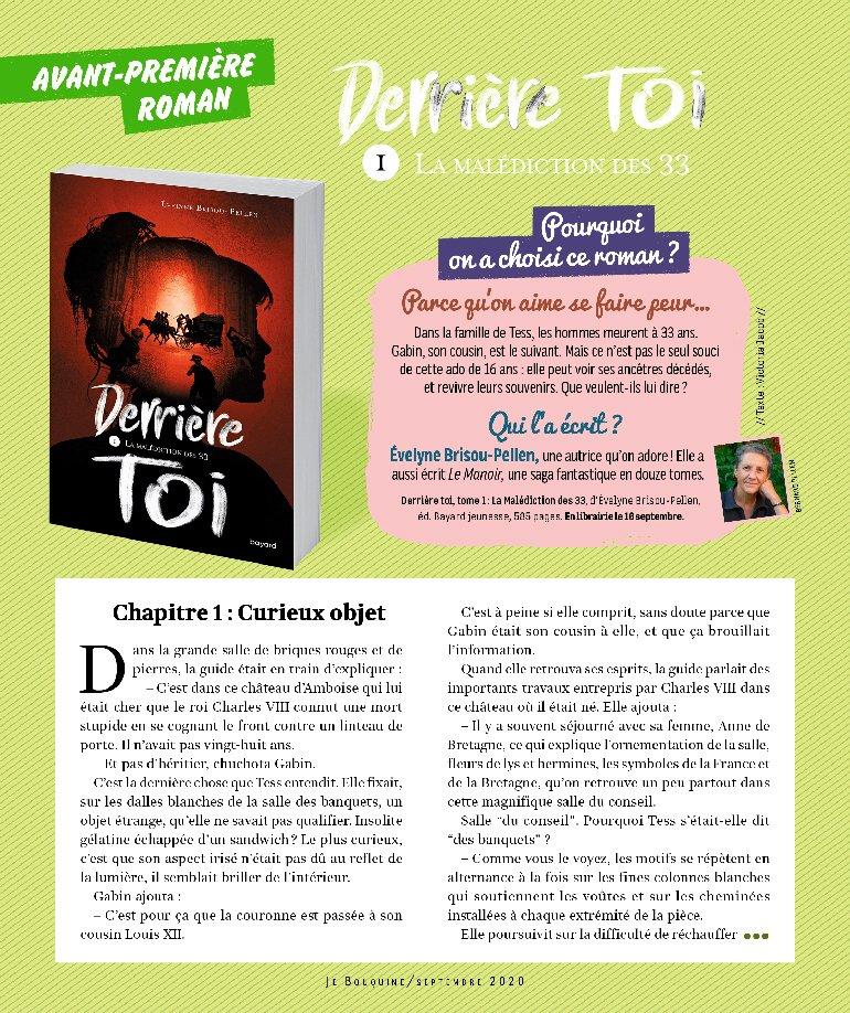 """""""Derrière toi, la malédiction des 33"""" d'Évelyne Brisou-Pellen. Extrait à lire en avant-première dans le magazine Je Bouquine de septembre 2020."""