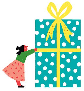 """""""Cadeaux de Noël : trouver la juste mesure"""", supplément pour les parents du magazine Popi n°412, décembre 2020. Texte : Christine Lamiable. Illustrations : Liuna Virardi."""