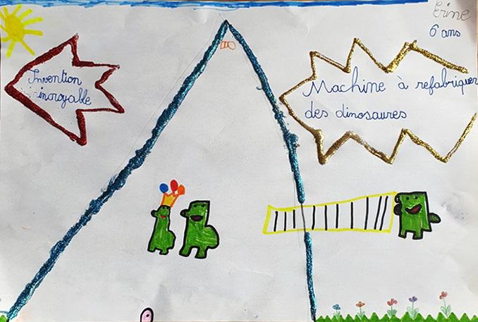 Érine, 6 ans, Machine à refabriquer des dinosaures