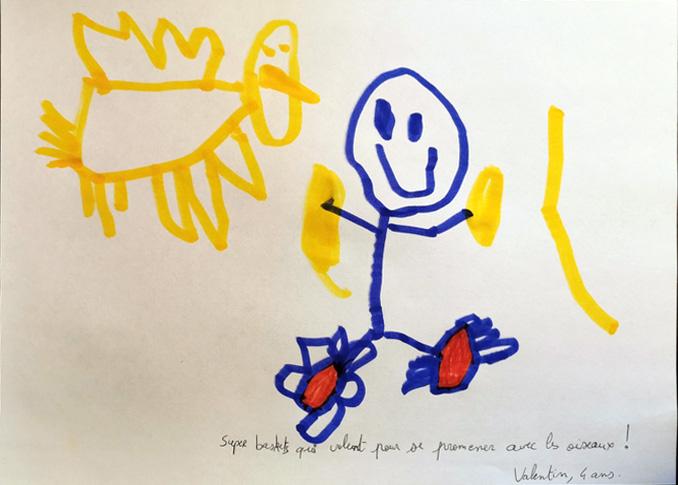 Valentin, 4 ans, Super baskets qui volent pour se promener avec les oiseaux !