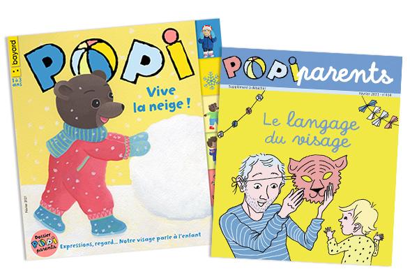 Couverture du magazine Popi n°414, février 2021, et son supplément pour les parents