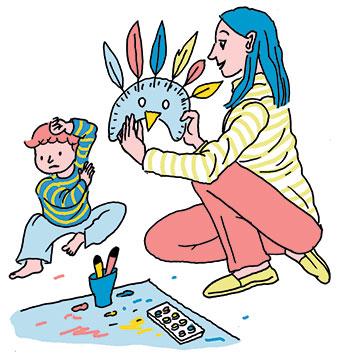 """""""Comment faire oublier le masque ?"""", supplément pour les parents du magazine Popi n°414, février 2021. Texte : Anne Bideault. Illustrations : Sandrine Martin."""