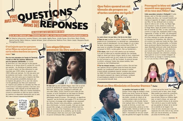 """Égalité filles-garçons, où en est-on ? Phosphore n°505, 1er mars 2021 - """"Vous avez des questions, nous avons des réponses"""""""