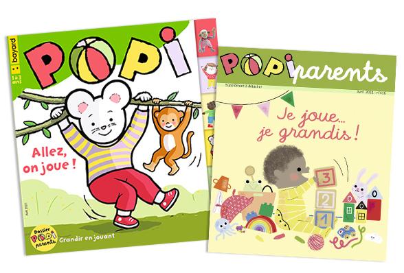 Couverture du magazine Popi n°416, avril 2021, et son supplément pour les parents