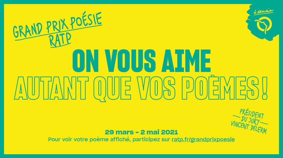 Grand Prix Poésie RATP 29 mars 2021 - 2 mai 2021