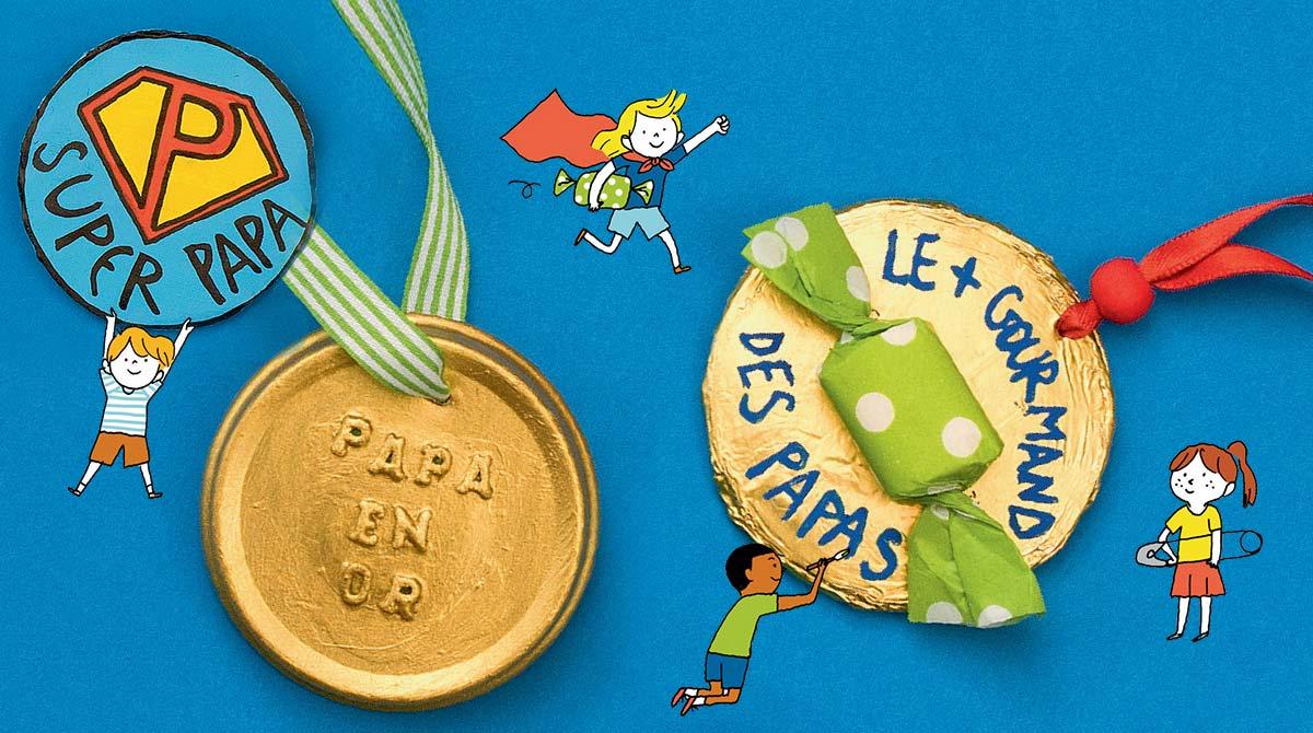 Photo : Benoît Pelletier. Illustrations : Aki. Bricolage : les médailles du meilleur papa.
