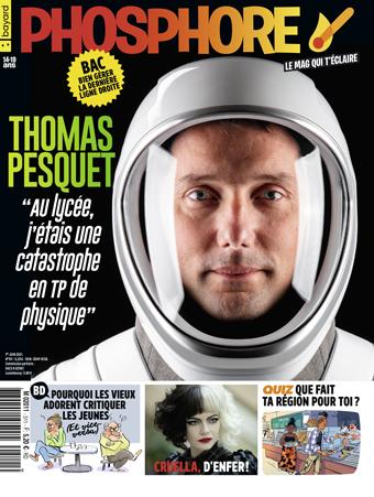 Couverture du magazine Phosphore n°511, 1er juin 2021. Thomas Pesquet - Vieux critiquent jeunes