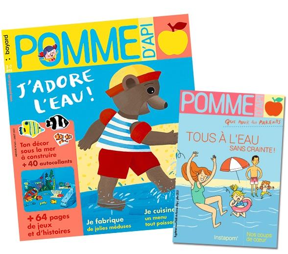 """Couverture du magazine Pomme d'Api, n°665, juillet 2021 et son supplément pour les parents : """"Tous à l'eau sans crainte !"""""""