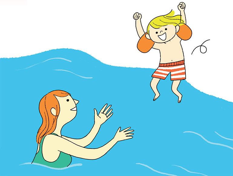 Pour se jeter à l'eau, chacun son tempo ! Illustrations : Aki.