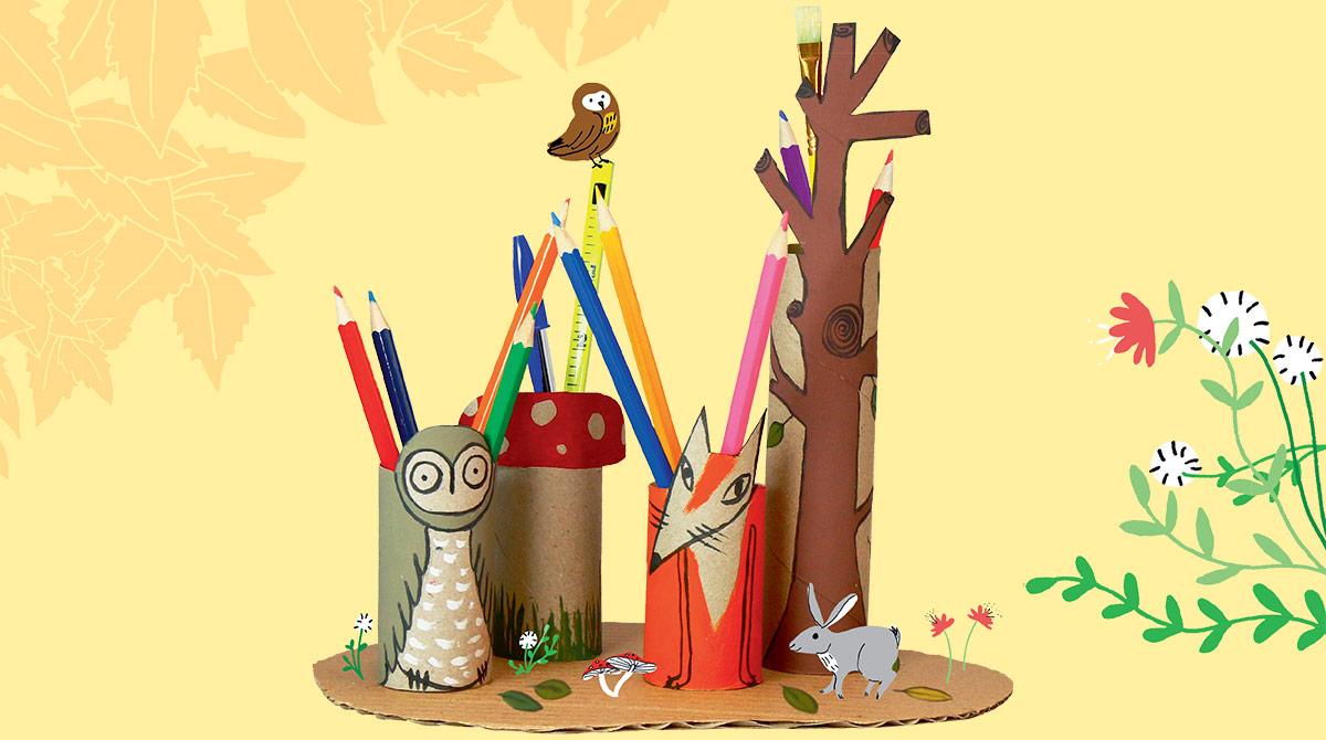 """""""La forêt à crayons"""", Astrapi n°866, 15 septembre 2016. Réalisation : Virginie Rousset. Texte : Bruno Muscat. Photo : Marie-Pierre Berrubé/Astrapi. Illustrations : Aki"""