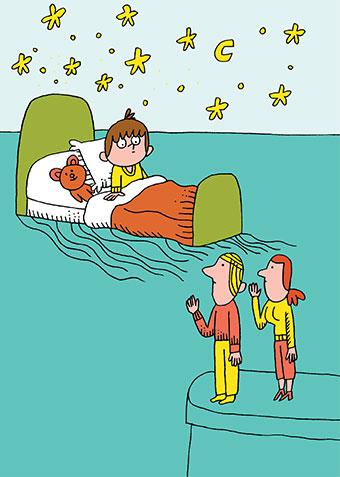 S'endormir : la séparation du soir. Illustration : Charles Dutertre.